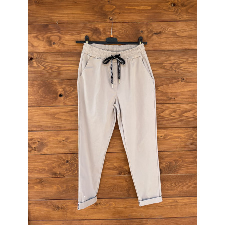 pantalone coulisse beige
